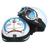Mũ Bảo Hiểm SRT nửa đầu Doremon nên trắng bóng _ Nón 1/2 siêu tiện lợi + Kính phi công màu ngẫu nhiên