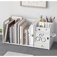 Kệ sách để bàn đa năng bằng gỗ size lớn(48x26cm) kệ hồ sơ tài liệu phong cách châu Âu kệ trang trí bàn làm việc màu trắng sang trọng- Tặng 1 móc khóa khung hình thời trang
