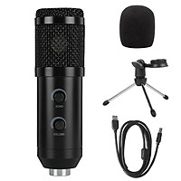 Professional Condenser Microphone Computer PC USB Microphone Cardioid Metal Mic Kit with Volume Reverberation Adjustment