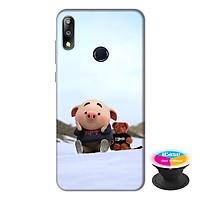 Ốp lưng điện thoại Asus Zenfone Max Pro M2 hình Heo Con Nghịch Tuyết tặng kèm giá đỡ điện thoại iCase xinh xắn - Hàng chính hãng