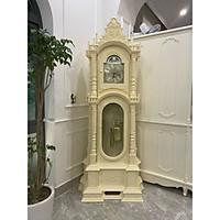Đồng hồ cây gỗ gõ đỏ , mẫu tháp trụ sơn trắng kem