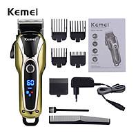 Tông đơ cắt tóc Kemei KM-1990 chuyên nghiệp điều chỉnh 2 mức tốc độ, có màn hình LED hiển thị pin, sạc nhanh có thể sử dụng cắm trực tiếp thích hợp dùng cho tiệm tóc, gia đình và cắt tóc trẻ em