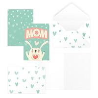 Thiệp tặng mẹ, mừng sinh nhật mẹ, ngày của mẹ, mother's day MOM 12,5x17,6 SDstationery CUTE FAMILY LOVE, thỏ dễ thương
