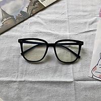 Gọng kính mắt nam nữ hình ovan chất liệu nhựa dẻo kèm mắt 0 độ chống ánh sáng xanh