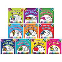 Bộ Sách Tô Màu Thú Vị - Dành Cho Trẻ Từ 3 Tuổi (Bộ 10 Cuốn) - Tặng kèm bộ sáp màu