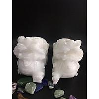 Cặp tì hưu đá trắng – dài 15cm – 2kg/cặp