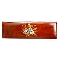 Hộp đựng đũa bằng gỗ tự nhiên, hàng thủ công cao cấp và khảm trai hình Bông hoa đẹp sang trọng