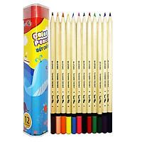 Bút Chì Màu Hộp Kim Loại Tam Giác SK-CP2003 (12 Màu/Hộp)