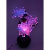 Bình hoa đèn led sợi quang đổi màu - bình hoa trang trí - bình hoa ly trắng cắm điện 220V - BH070T
