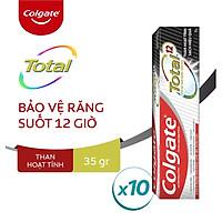 Bộ 10 Kem đánh răng Colgate Total than hoạt tính bảo vệ toàn diện 35g/tuýp