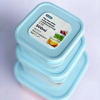 Bộ 3 Hộp Nhựa Đựng Thực Phẩm, Thức Ăn Hokkaido Vuông (Xanh) - Tiêu Chuẩn Nhật - Hàng Chính Hãng