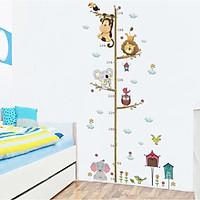 Decal dán tường đo chiều cao cho bé hình cây animal vui nhộn 1,7m