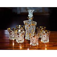 Bộ Bình và 6 Ly Uống Rượu Whiskey Pha Lê Mạ Vàng Họa Tiết Kim Cương (700/200ml)