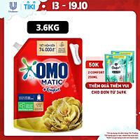 Nước giặt OMO Matic Comfort hương Tinh dầu thơm cho máy giặt cửa trên, xoáy bay vết bẩn, hương thơm bền lâu, túi 3.6kg