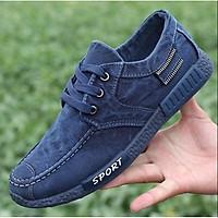 Giày thể thao vải canvas phối denim phong cách Hàn Quốc