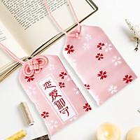 Túi gấm Omamori tình yêu hồng nhạt có kèm túi chống nước Túi Phước May Mắn dây treo trang trí