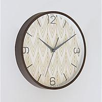 Đồng hồ treo tường tròn họa tiết zic zac mạ vàng viền vân gỗ 30cm