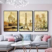 Bộ 3 tranh canvas treo tường Decor PARIS thế kỷ XX - DC108