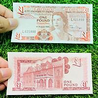 Tiền Gibraltar 1 Pound, lãnh thổ thuộc Anh, chân dung nữ hoàng Anh lúc trẻ, tiền cổ châu Âu, mới 100% UNC, tặng túi nilon bảo quản