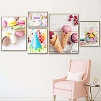Bộ tranh ảnh treo tường bánh và kem KA198