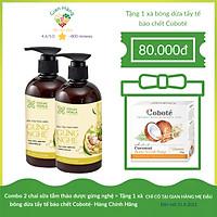 Combo 2 chai sữa tắm thảo dược gừng nghệ COCAYHOALA mờ thâm, ngăn ngừa mụn lưng, viêm lỗ chân lông, đặc biệt an toàn cho da nhạy cảm - Tặng ngay Xà bông dừa tẩy tế bào chết Coboté