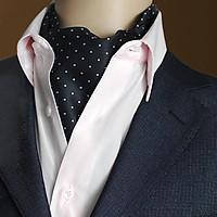 Men's Polka Dots Satin Cravat Ties Jacquard Woven Formal Self Ascot Blue