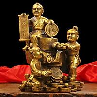 Tượng vận tài đồng tử xay tiền bằng đồng thau phong thủy Hồng Thắng
