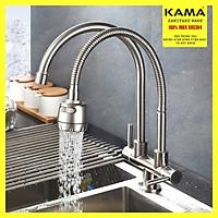 Vòi rửa chén lạnh inox 304 KAMA RC08-L - Vòi rửa chén lạnh inox 304 màu sắc nguyên bản, dùng cho chậu rửa nhà bếp 2 hố, hoạt động độc lập, thân cao 34 cm, cân nặng 1kg - Hàng mới 2020