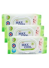 Combo 3 Gói Khăn Ướt Max Cool Không Hương MC80-03 (80 Tờ x 3) - Xanh