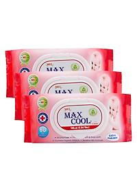 Combo 3 Gói Khăn Ướt Max Cool Có Hương MC80-04 (80 Tờ x 3) - Đỏ