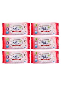 Combo 6 Gói Khăn Ướt Max Cool Có Hương MC80-06 (80 Tờ x 6) - Đỏ-0