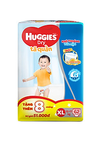 Tã Quần Huggies Dry Gói Cực Đại XL62 (62 Miếng) - Bao Bì Mới-1