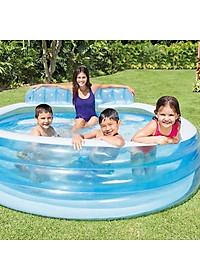 Bể bơi bơm hơi gia đình có ghế ngồi tròn xanh Intex 57190-1