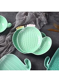 Nordic Style Creative Ceramic Tableware Plant Cactus Cute Plate Breakfast Bowl Household Tableware Snack Dish Fruit Salad Plate-Style B-0