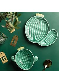Nordic Style Creative Ceramic Tableware Plant Cactus Cute Plate Breakfast Bowl Household Tableware Snack Dish Fruit Salad Plate-Style B-1