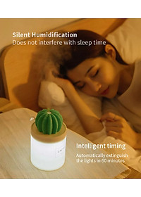 Uareliffe Mini Humidifier 280ML Cactus Ultrasonic Car Humidifier  Intelligent Timing Air Diffuser Silent Humidification Nano Small Mist Maker With LED Warm Night Light For Home Office Use - White-9