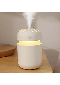 Cool Mist Humidifier Portable Mini USB Air Humidifier for Car Travel Office Baby Bedroom Home with Colorful Night Light (300ML) - White-0
