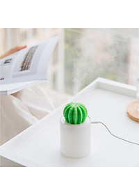 Uareliffe Mini Humidifier 280ML Cactus Ultrasonic Car Humidifier  Intelligent Timing Air Diffuser Silent Humidification Nano Small Mist Maker With LED Warm Night Light For Home Office Use - White-6