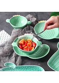 Nordic Style Creative Ceramic Tableware Plant Cactus Cute Plate Breakfast Bowl Household Tableware Snack Dish Fruit Salad Plate-Style B-3