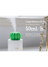 Uareliffe Mini Humidifier 280ML Cactus Ultrasonic Car Humidifier  Intelligent Timing Air Diffuser Silent Humidification Nano Small Mist Maker With LED Warm Night Light For Home Office Use - White-11