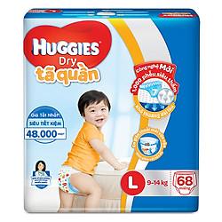 Tã Quần Huggies Dry Gói Cực Đại L68 (68 Miếng) - Bao Bì Mới
