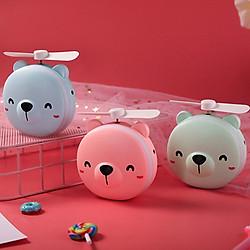 Quạt tích điện mini hình thú dễ thương có đèn LED và Gương soi (Mẫu ngẫu nhiên)