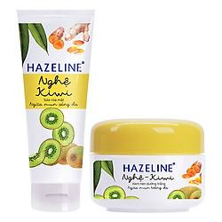 Combo Sữa Rửa Mặt Sáng Da Hazeline Kiwi Nghệ (100g) và Kem Nén Dưỡng Trắng Ngừa Mụn Hazeline Nghệ Và Kiwi (8g)