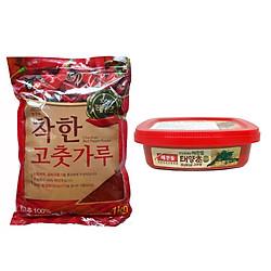 Combo Bột Ớt Cánh Vảy Noong Woo Chakhan 1 Kg Và Tương Ớt Gochujang Taeyangcho 200 Gr - Nhập Khẩu Hàn Quốc
