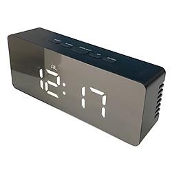 Đồng hồ led để bàn mặt gương màu đen