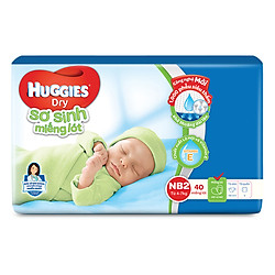 Miếng Lót Sơ Sinh Huggies Dry Newborn 2 - 40 (40 Miếng) - Bao Bì Mới