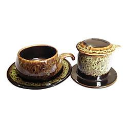 Bộ Quà Tặng Pin Tách Coffee - Gốm Sứ Bát Tràng - P08V - Màu Vàng Gấm