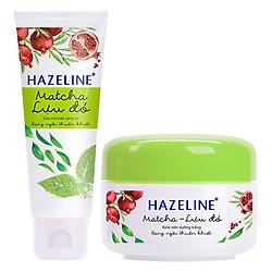 Combo Sữa Rửa Mặt Sáng Da Hazeline Matcha Lựu Đỏ (100g) và Kem Nén Dưỡng Trắng Hazeline Matcha Và Lựu Đỏ (8g)