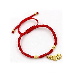 Vòng đeo tay tết dây cẩn tỳ hưu mạ vàng TD5 - Vòng tay chỉ đỏ may mắn