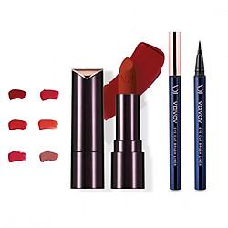 Bộ đôi VDIVOV Son lì Lip Cut Rouge Velvet OR203 APGUJEONG ORANGE 3.8g và Eye Cut Brush Liner 01 Black 0.6g